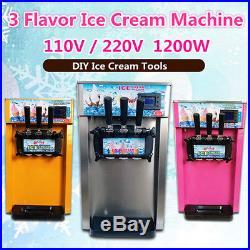 110V/220V 18L/H 3 Flavor Commercial Frozen Cones Soft Ice Cream Making Machine