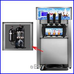 110V/220V 3 Flavor Commercial Frozen Soft Ice Cream Machine Maker 18L/H 1200W US
