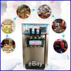 110V/220V 3 Flavor Commercial Frozen Yogurt Soft Ice Cream Cones Maker Machine