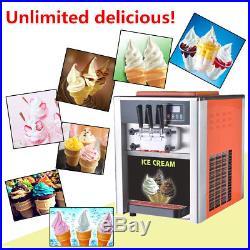 110V/220V AC 3 Flavor Steel Commercial Frozen Soft Ice Cream Cone Maker Machine