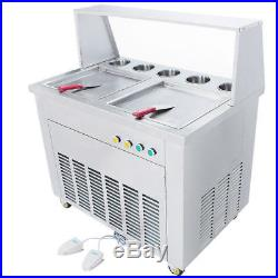 110V/220V Fried Ice Cream Machine with Double Square Pans Ice Cream Roll Maker