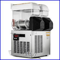 110V Commercial 2 Tank 30L Frozen Drink Slush Slushy Maker Machine Sale