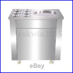 110V Commercial Fried Ice Cream Machine Maker For Yogurt with1 Pan 6 Buckets