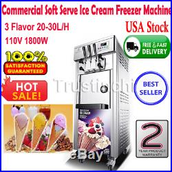 110V Commercial Soft Serve Ice Cream Freezer Machine 3 Flavor 20-30L/H 1800W LCD