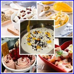 110V Fried Ice Cream Rolls Machine-Cold Slab Freeze Plate-S/Steel Pan 6 Bucket