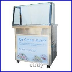 110V Single Flat Pan with Six Buckets Fried Ice Cream Machine Fried Ice Cream Ma