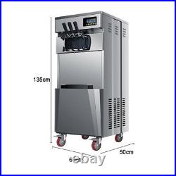 110V Three Flavors 20L/H Commercial Soft Serve Ice cream Machine with LED Screen