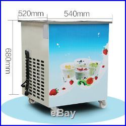 110v Commercial Single Round Pan Fried Ice Cream Roll Machine 1050W FDA US SHIP