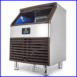 120KG/265LBS Commercial Ice Cube Maker Machine Water Filter Refrigeration Cafes