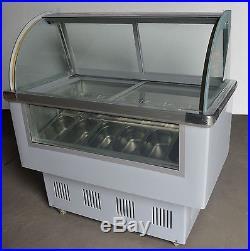 12 PAN Ice Cream Showcase Mobile Display Gelato Dipping Cabinet Freezer Machine
