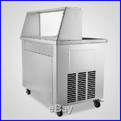 1600W 2 Pans Fried Ice Cream Yogurt Maker Machine 5 Buckets 2 Compressors 110v