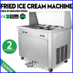 1600w Fried Ice Cream Roll Machine 2 Square Pans 5 Buckets Fast Making 110v
