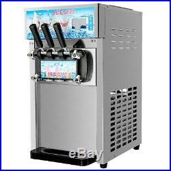 18L/H Commercial Soft Serve Ice Cream Maker 3 Flavors SS Silver Ice Cream 1200W