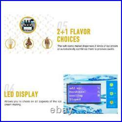 18L/H Commercial Soft Serve Ice Cream Maker 3 Flavors Silver Ice Cream Machine