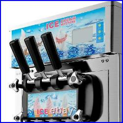 18L/H Commercial Soft Serve Ice Cream Maker 3 Flavors Silver SS LED Display