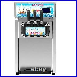 18L/H Commercial Soft Serve Ice Cream Maker 3 Flavors Stainless Steel Ice Cream