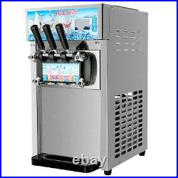 18L/H Commercial Soft Serve Ice Cream Maker 3 Flavors Stainless Steel Ice Cream/