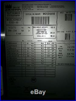 2012 Taylor Crown Twin Twist Soft Serve Ice Cream/yogurt/gelatin Machine C723-33