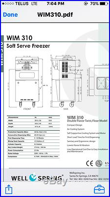 2013 Well Spring WIM 310 Frozen Yogurt/Soft Serve Ice Cream Machine