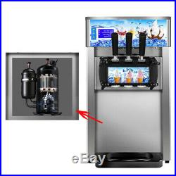 2019 NEW Soft Serve Ice Cream Machine 3-Flavor Frozen Yogurt Machine Warranty