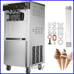 20-28L/H Commercial Soft Serve Ice Cream Maker Machine 3 Flavors with Wheels