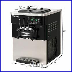 2200W Commercial 3 Flavor Ice Cream Machine Stainless Steel 20-28L/H LCD Display