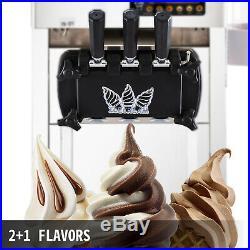 2200W Commercial Soft Ice Cream 3 Flavor Steel Frozen Yogurt Cone Maker Machine