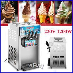 220V 1200W 3 Head Flavor Commercial Frozen Cones Soft Ice Cream Yogurt Machine