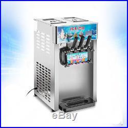 220V 18L/H 3 Head Flavor Commercial Frozen Cones Machine Soft Ice Cream Maker