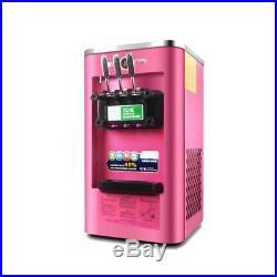220V 3 Flavor Pink Commercial Frozen Soft Ice Cream Yogurt Cone Machine 13-16L/H