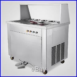 22L/H Fry Fried Ice Cream Machine Roll Ice Yogurt Making Maker 2 Pan 5 Box