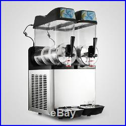 2Tank Commercial Frozen Drink Slush Slushy Make Machine Smoothie Maker Fast Ship