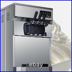 2XCommercial Soft Ice Cream 3 Flavor Steel Frozen Yogurt Cone Maker 20L Device