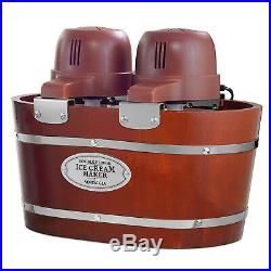 2 Flavor Ice Cream Maker Electric Dessert Machine Gelato Sorbet Wood Bucket 4Qt