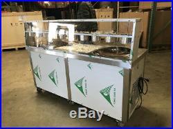 2 Pan Ice Cream Roll Machine Maker Thai Fried Desert NSF Cooler Depot