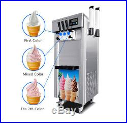 3Flavor Soft Serve Ice Cream Machine Comercial Air Cooled Ice-cream Cone Freezer