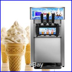 3 Flavor Commercial Frozen Ice Cream Cones Machine Soft Ice Cream Maker 110V USA