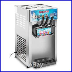 3 Flavor Commercial Frozen Serve Soft Ice Cream Machine Cones Maker 110V
