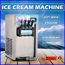 3 Flavor Commercial Frozen Soft Ice Cream Cones Machine 18L/H Ice Cream Maker