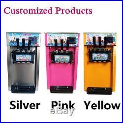 3 Flavor Commercial Soft Ice Cream Machine Frozen Yoghurt Maker Automatic 18L /H