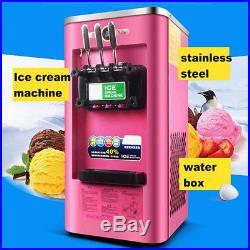 3 Flavor Pink Commercial Frozen Soft Ice Cream Yogurt Cone Machine 13-16L/H 220V