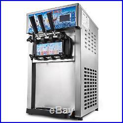 3 Flavor Soft Ice Cream Machine Frozen Ice Cream Maker 18L/H 110V