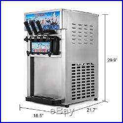 3 Flavor Soft Ice Cream Machine Frozen Yogurt Cone Maker 1200W 18L/H Commercial