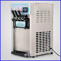 3 Flavor Soft Ice Cream Maker Frozen Yogurt Machine 18L/H LCD Display