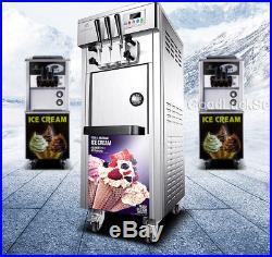 3 Flavor Soft Ice Cream Maker Frozen Yogurt Machine 20-30L/H LCD Display 110V US