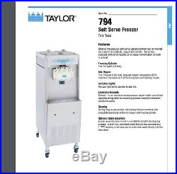 (3) Frozen Yogurt / Ice Cream Machine(s) 3-Phase Water Cooled (Taylor 794)
