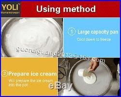 4545cm pan fried ice cream machine, ice cream roll maker with 2 free compressors