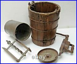 Antique Ice Cream Maker Freezer hand crank churn style machine pine wood bucket