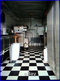 Blue ice cream concession trailer, 8x20, 2 Taylor soft serve machines, flavorbur