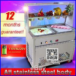 Cheap price 2 square pans fried yogurt milk ice cream roll machine with 5 bucket
